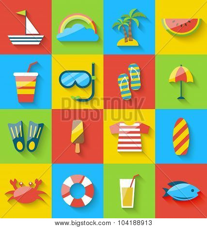 Flat icons of holiday journey, summer symbols, sea leisure, colo