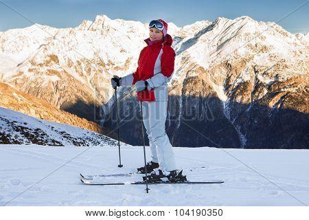 Woman In Skiwear At Ski Resort Solden