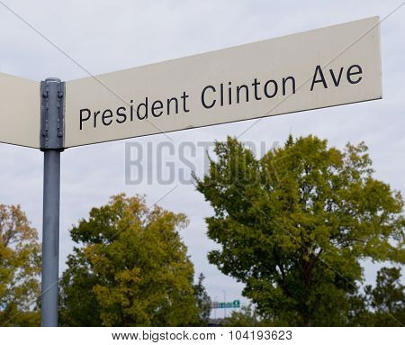 President Clinton Ave in front of the President Clinton Library in Little Rock Arkansas. poster