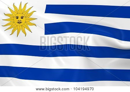 Waving Flag Of Uruguay - 3D Render Of The Uruguayan Flag With Silky Texture