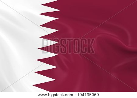 Waving Flag Of Qatar - 3D Render Of The Qatari Flag With Silky Texture