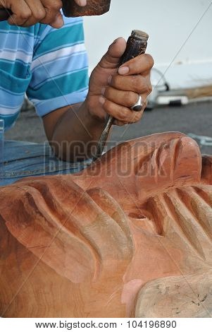 Traditional carved masks and wooden sculptures of indigenous Malaysia