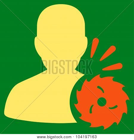 Body Execution vector icon. Style is bicolor flat symbol, orange and yellow colors, rounded angles, green background. poster