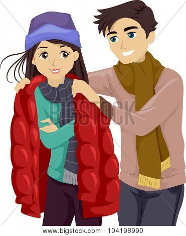 Illustration of a Teenage Boy Lending His Jacket to His Girlfriend
