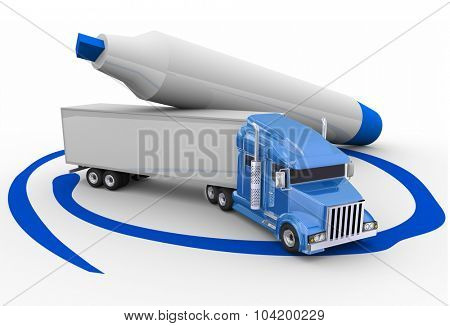 Blue trailer truck circled with a pen or marker to choose the best option or opportunity for transportation or logistics
