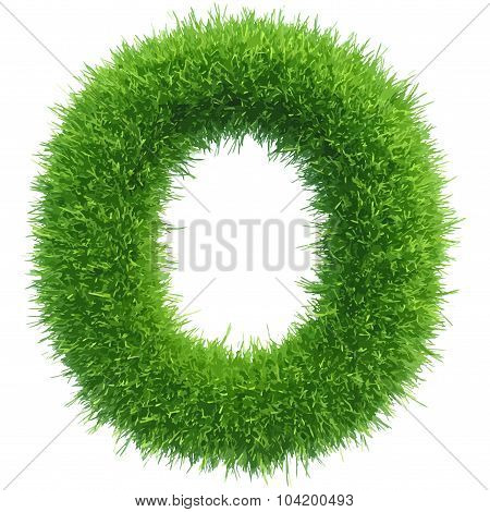 Vector small grass letter o on white background