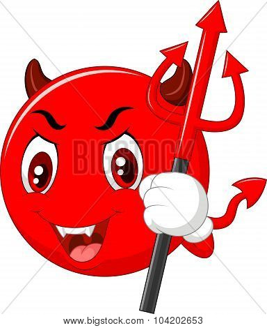 Cartoon red devil emoticon holding trident isolated on white background