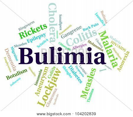 Bulimia Illness Showing Binge Vomit Syndrome And Compulsive Eating poster