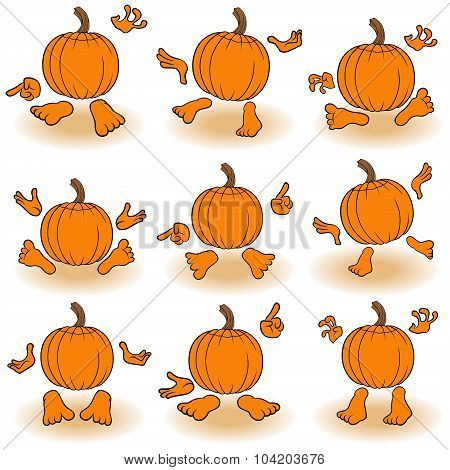 Gesticulating Funny Pumpkins View From The Back