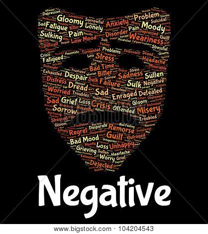 Negative Word Indicates Defeatist Pessimistic And Rejecting