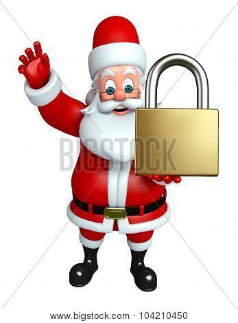 Cartoon Santa Claus With Lock