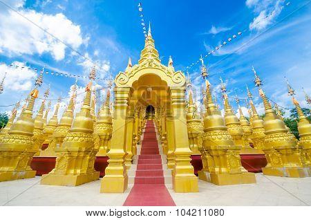 Golden Pagoda At Wat Pa Sawang Boon Temple Thailand