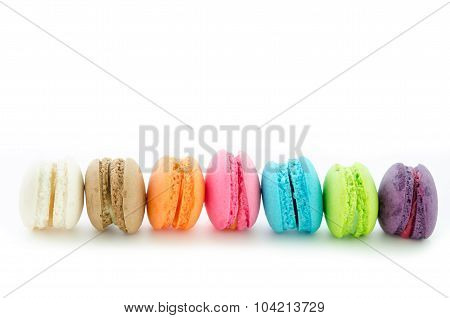 Colorful Macaroons On White Background.
