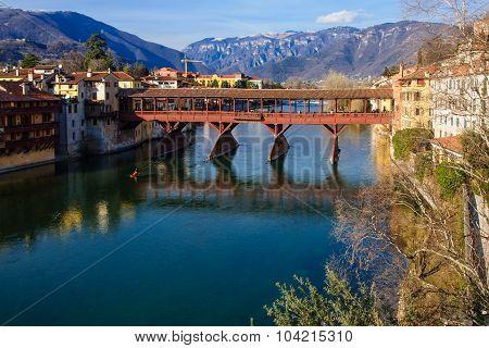 The Ponte Vecchio (or Ponte degli Alpini) bridge and the Brenta river in Bassano del Grappa Veneto Italy poster