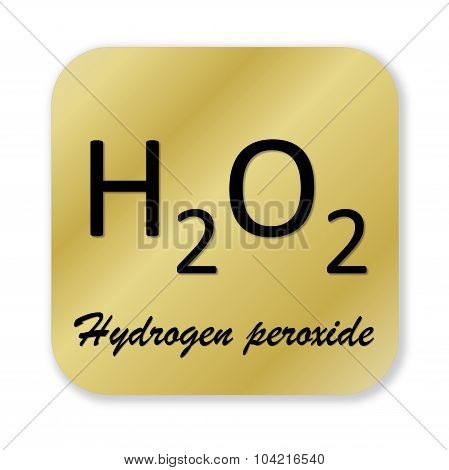Golden chemical formula of hydrogen peroxide symbol isolated in white background poster