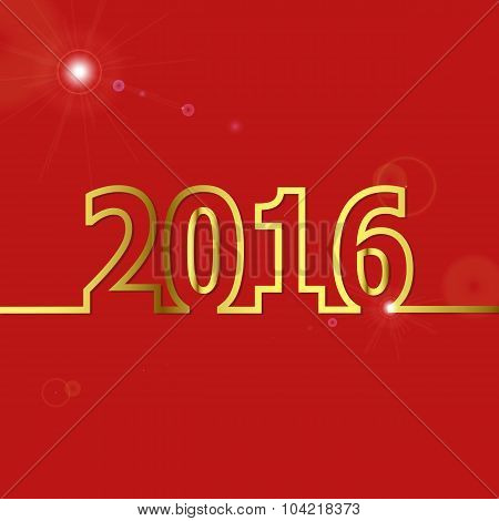 2016 Happy New Year On Red Background