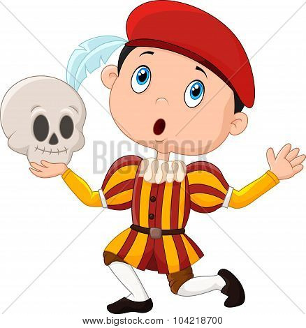 Little boy playing Hamlet in a school play, holding a skull