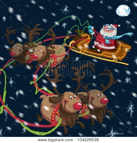 Christmas Scene Of Cartoon Santa Claus With Sleigh And Reindeers
