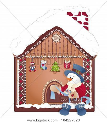 Christmas- Snowman With Gift And Ginger House