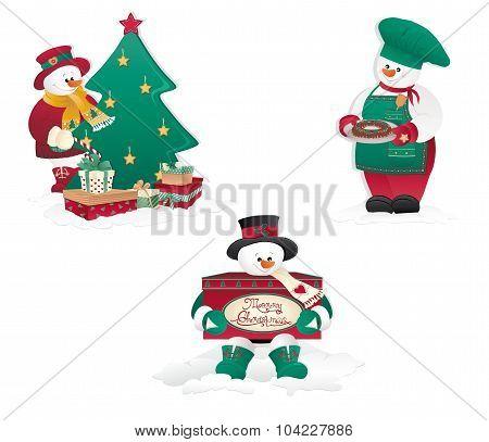 Isolated Christmas Snowman's