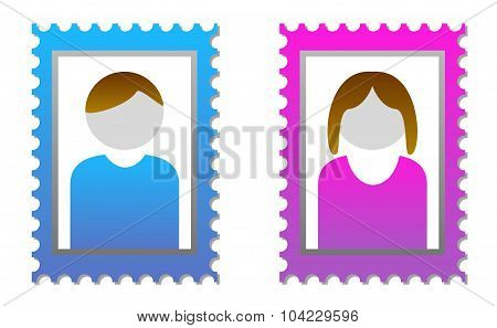 2 isolated placeholders for user pictures male and female poster