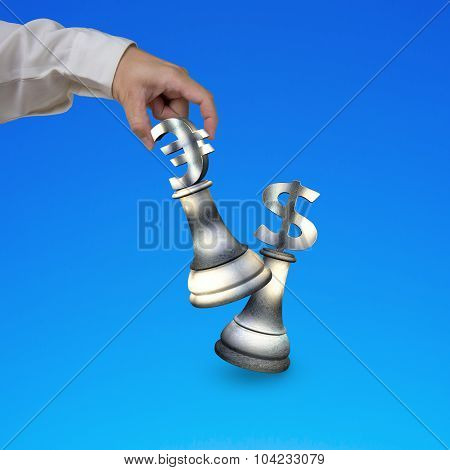 Human Hand Playing Money Currency Symbol Chess Pieces