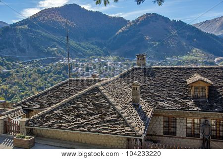 Roofs and valley of Town of Metsovo, Epirus