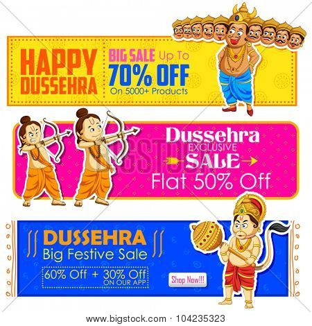 illustration of Happy Dussehra banner with Rama, Laxmana, Hanuman and Ravana