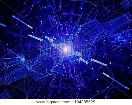 Multidimensional Blue Glowing Quantum Source