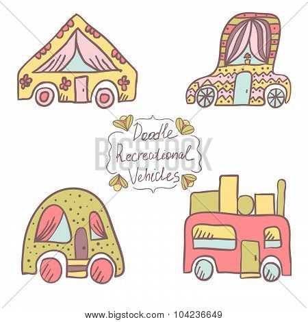 Doodle recreational vehicles color. Cute travel illustration poster