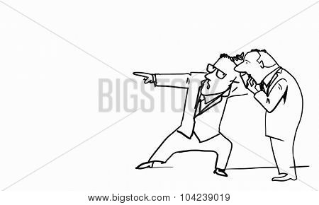 Caricature of two funny men on white background