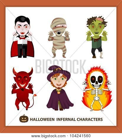 Set 6 infernal characters for the holiday of Halloween