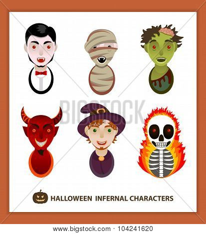 Set 6 infernal characters for the holiday of Halloween.