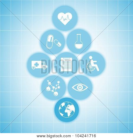 Medical healthcare icons on blue background. Modern medical technologies concept