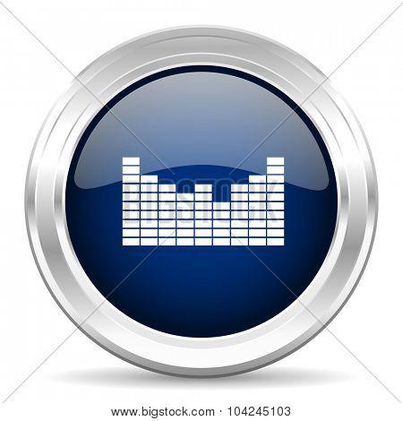 sound cirle glossy dark blue web icon on white background