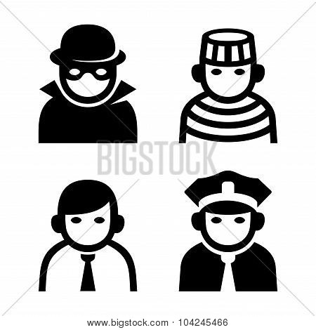 Criminal, Police and Prison Userpic Icons Set. Vector