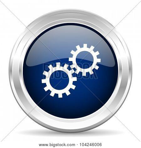 gear cirle glossy dark blue web icon on white background