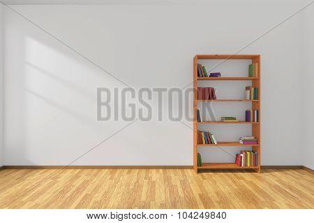 Minimalist Interior Of Empty White Room With Bookcase