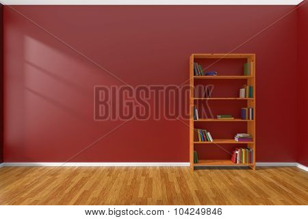 Minimalist Interior Of Empty Red Room With Bookcase