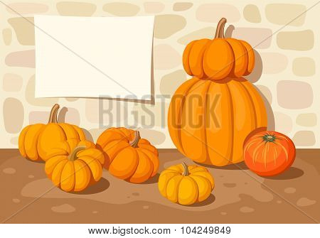 Background with orange pumpkins and a stone wall. Vector illustration.