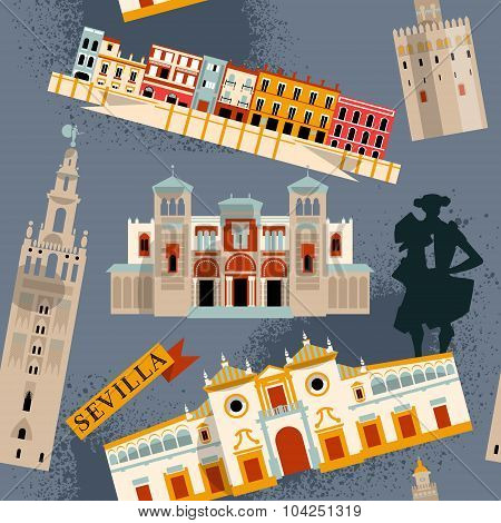 Sights Of Seville. Andalusia, Spain, Europe. Seamless Background Pattern.
