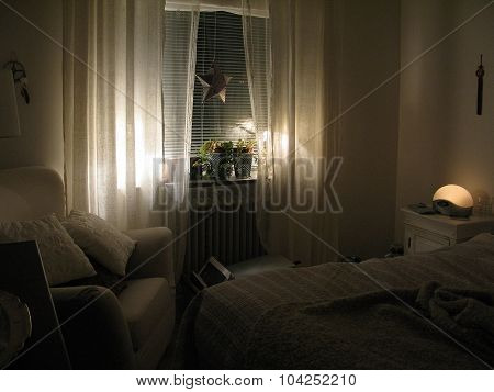 Winter interior cozy bedroom