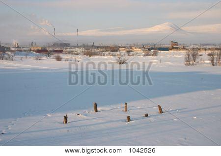 Industrial Snowy Landscape
