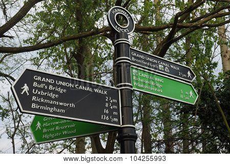 Hanwell Canal Locks signpost