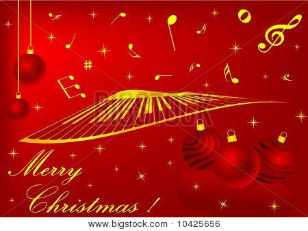Red Christmas background with balls and music notes