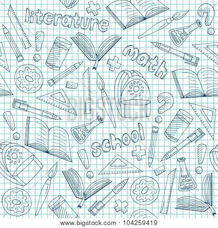 Vector School Supplies Pattern, Hand Drawn Blue Seamless School Background Doodle Style