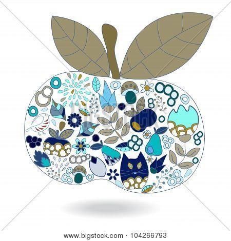 Isolated Abstract Doole Apple. Vector Illustration. Autumn Background