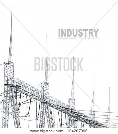 High voltage posts or High voltage towers on white background with space for your text.