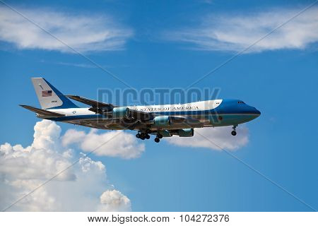 MIAMI, FL - AUG 18: Air Force One lands in Miami carries President Obama.