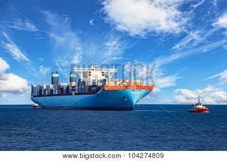 Tugboat Towing Container Ship